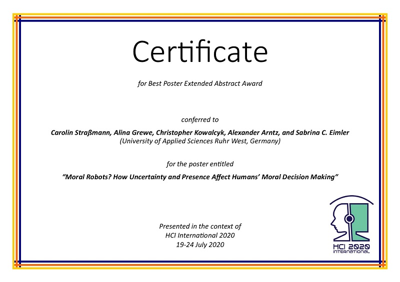 Certificate for Best Poster Extended Abstract Award. Details in text following the image