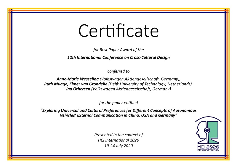 Certificate for best paper award of the 12th International Conference on Cross-Cultural Design. Details in text following the image