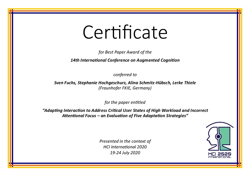 Certificate for best paper award of the 14th International Conference on Augmented Cognition. Details in text following the image