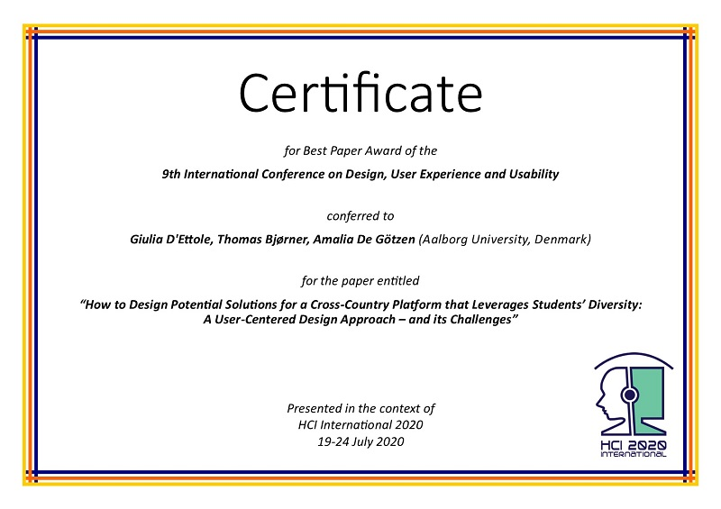 Design User Experience And Usability Best Paper Award Hci International 2020