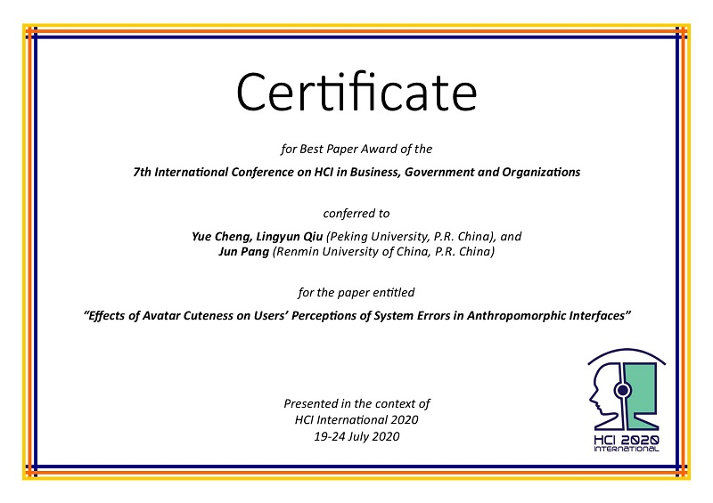 Certificate for best paper award of the 7th International Conference on HCI in Business, Government and Organizations. Details in text following the image