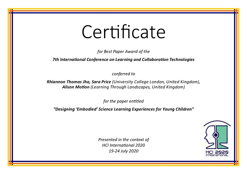 Certificate for best paper award of the 7th International Conference on Learning and Collaboration Technologies. Details in text following the image