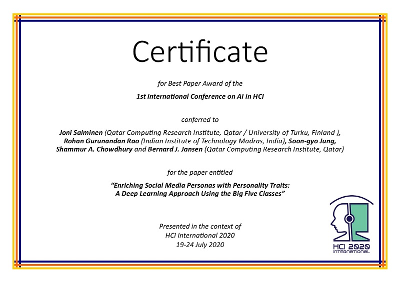 Certificate for best paper award of the 1st International Conference on AI in HCI. Details in text following the image